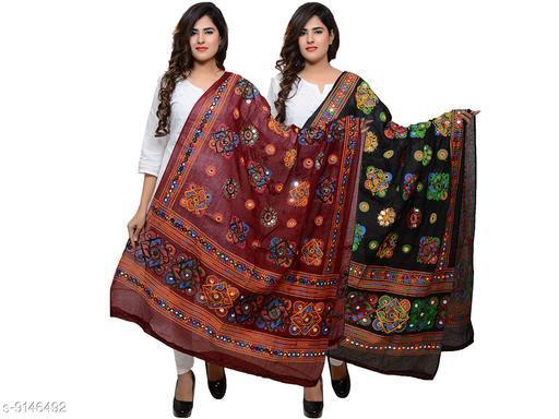 DIAMO 100% cotton Embroidered paper mirror work dupatta for womens