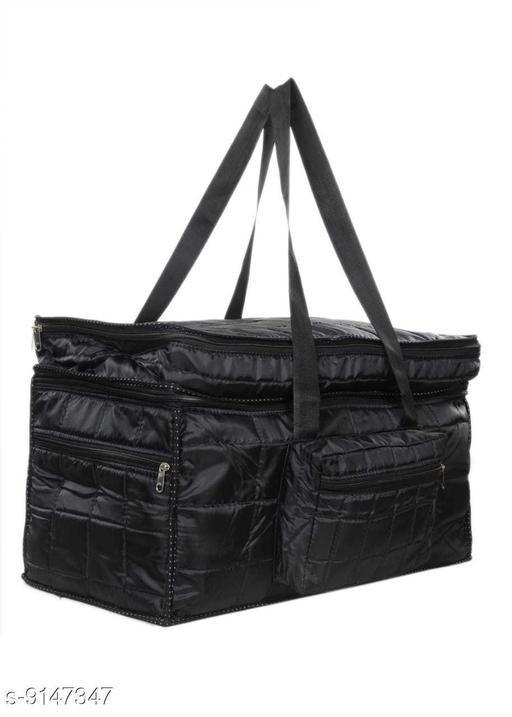 Sunesh Creation Nylon Fabric Small Foldable Waterproof Travel Bag/Duffle Bag with Zip Closure Travel Duffel Bag (Black, Size: 51x27x33cm)
