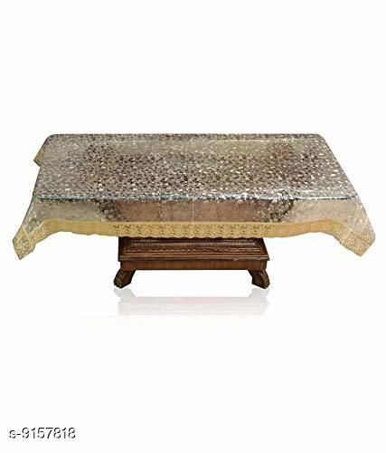 Fabfurn PVC Waterproof 3D 2 Seater Center Table Cover with Golden Lace Design (60 X 40 Inches, Clear)