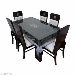 Fabfurn Dining Table Cover Transparent 6 Seater 60x90 Inches (Silver Lace)