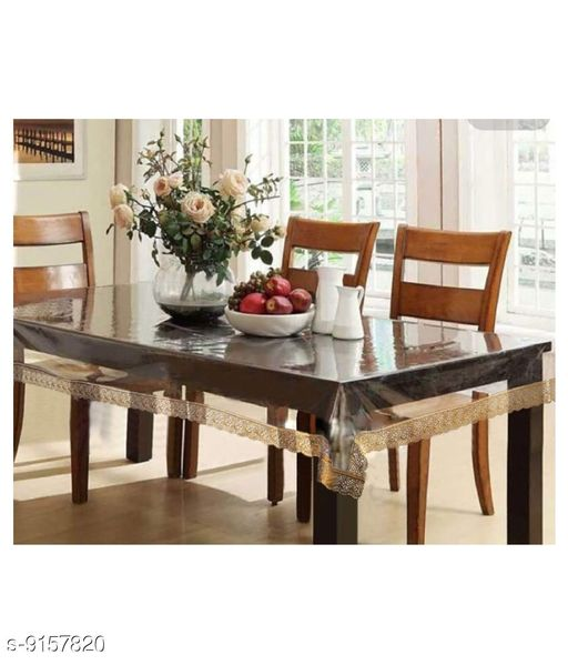 Fabfurn Dining Table Cover Transparent 6 Seater 60x90 Inches (Golden Lace)