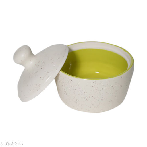 JMD Ceramic White Butter pot with lid|11.5X11.5X10cm