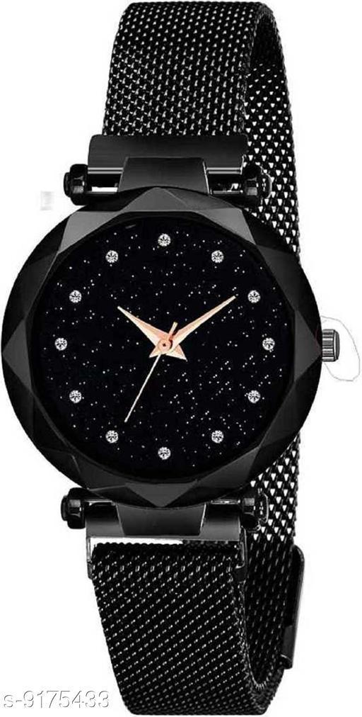 Black Mesh Magnet Strap Magnetic Mesh Strap Analog Watch Girl's watch Analog Watch