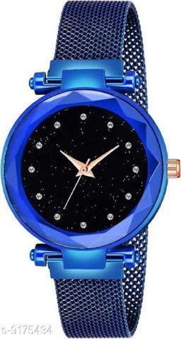 Blue Mesh Magnet Strap Magnetic Mesh Strap Analog Watch Girl's watch Analog Watch