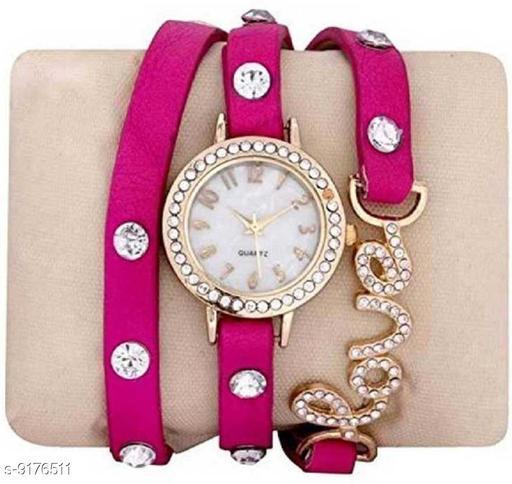 Fancy Charmi Pink Belt Leather strap Girls Analog Watch