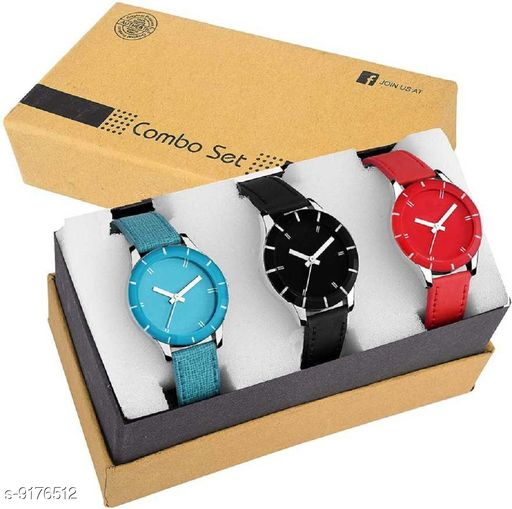 Black,Blue & Red-Colour Leather Strap PartyWear+Casual+Formal Combo Of 3 Analog Watch Analog Watch