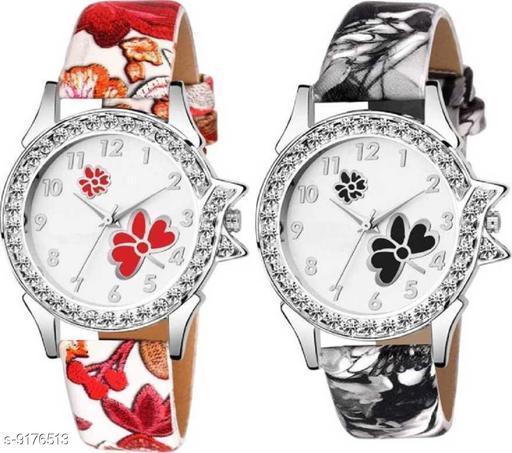 Combo pack 2New Edition Stylish Artist Designer Flower Print Dial Analog Watch For Girls & Women T-C305 Watc Analog Watch