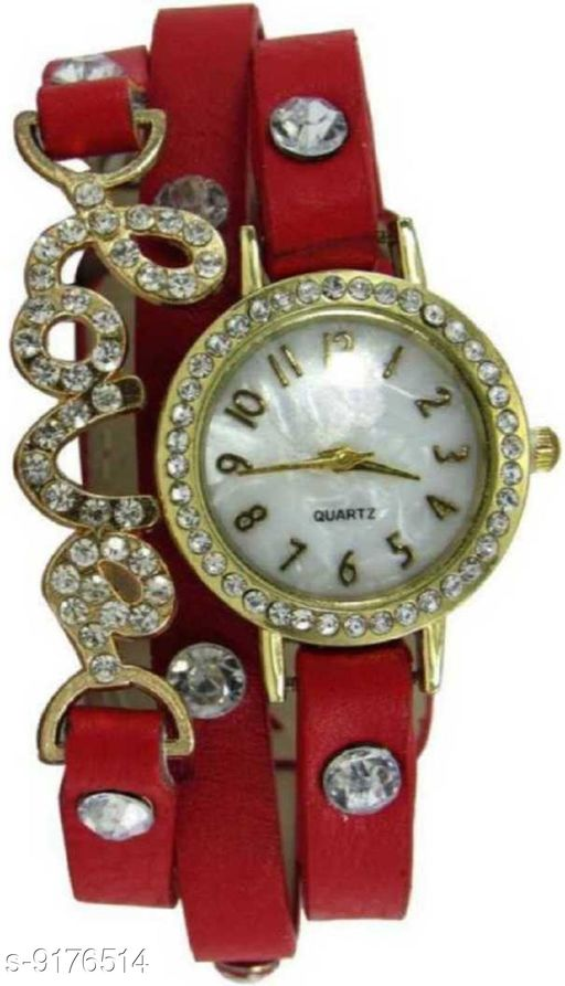 Caron New Red Stylish Braclet Belt With Diamond Stone For Women Analog Watch