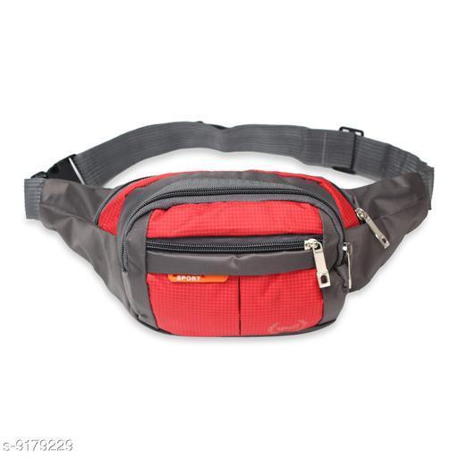 Trendy Men's Red Polyester Waist Bag