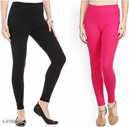 Women's BLACK OR PINK 2PC COMBO Cotton Lycra Ankle Length Legging