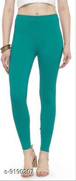 Women's AQUA BLUE Cotton Lycra Ankle Length Legging