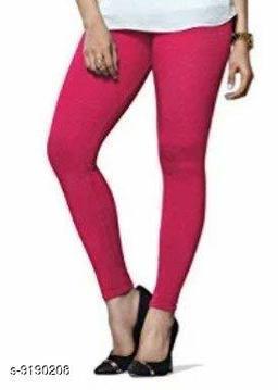 Women's PINK Cotton Lycra Ankle Length Legging
