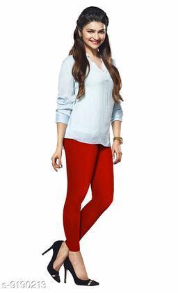 Women's RED Cotton Lycra Ankle Length Legging
