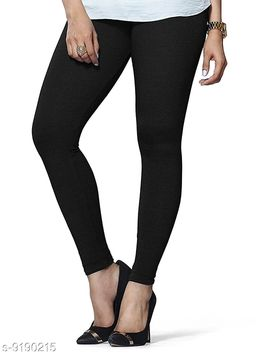 Women's BLACK Cotton Lycra Ankle Length Legging