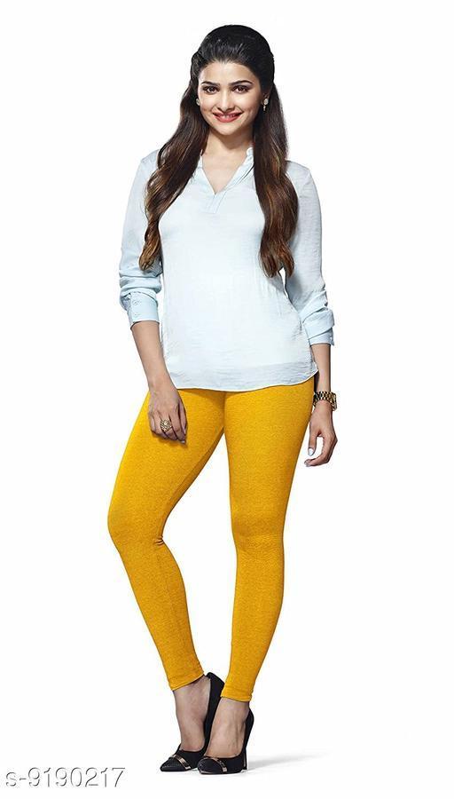 Women's MUSTARD Cotton Lycra Ankle Length Legging