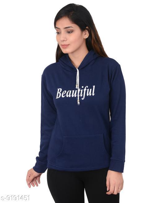 Women Fleece Printed Full Sleeve swearshirt