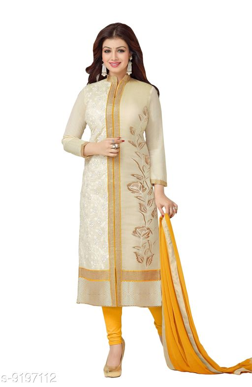Suits & Dress Materials Jheenu Women's Cream Cotton Embroidered Unstitched Salwar Suit Dress Material salwar suit  *Top Fabric* Cotton + Top Length  *Bottom Fabric* Cotton + Bottom Length  *Dupatta Fabric* Nazneen + Dupatta Length  *Lining Fabric* No Lining  *Type* Un Stitched  *Pattern* Embroidered  *Multipack* Single  *Sizes Available* Un Stitched *    Catalog Name: Adrika Pretty Salwar Suits & Dress Materials CatalogID_1598989 C74-SC1002 Code: 186-9197112-5212