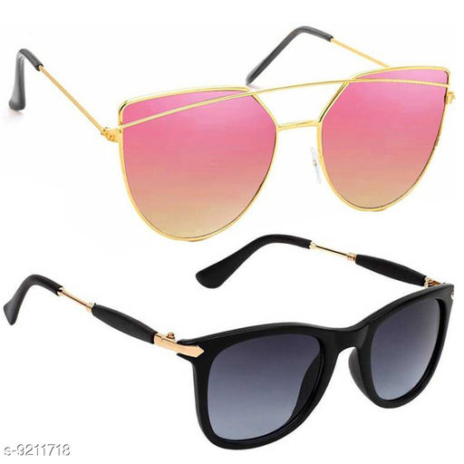 Stylish & Fashionable Sunglasses With Box For Men Women Boys & Girls (Pack Of 2)