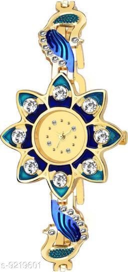 New Stylish Blue Golden Diamond Studded SunFlower Watch For Girl Analog Watch