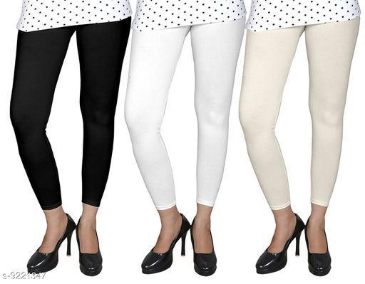 Leggings Leggings for women leggings combo leggings combo for women free size leggings for girls  *Fabric* Cotton Lycra  *Type* ankle Leggings  *Pattern* Solid  *Multipack* 3  *Sizes*   *Free Size (Waist Size* 30 in, Length Size  *Length* ankle Leggings  *Sizes Available* Free Size *    Catalog Name: Gorgeous Feminine Women Leggings CatalogID_1604709 C79-SC1035 Code: 419-9221347-