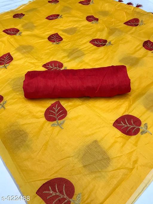 Alluring Chanderi Cotton Embroidered Saree