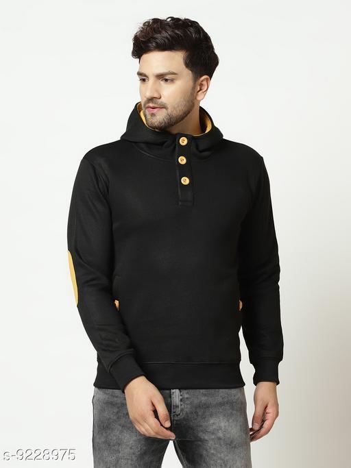Elegance Men's Black Solid Hooded Sweatshirt With Contrast Button