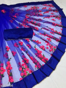 Trendy Heavy Net Embroidered Saree