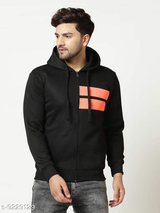 Elegance Men's Black Zipper Hooded Sweatshirt