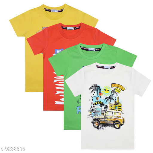 Luke and Lilly Boys Cotton Half Sleeve Tshirt - Pack Of 4