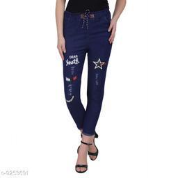 ahloxia dark blue printed women jeans