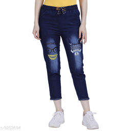 ahloxia printed denim jeans for women