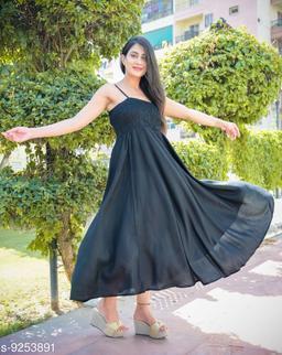 Fancify Black Rayon A-Line Bobbin Maxi Dress for Women