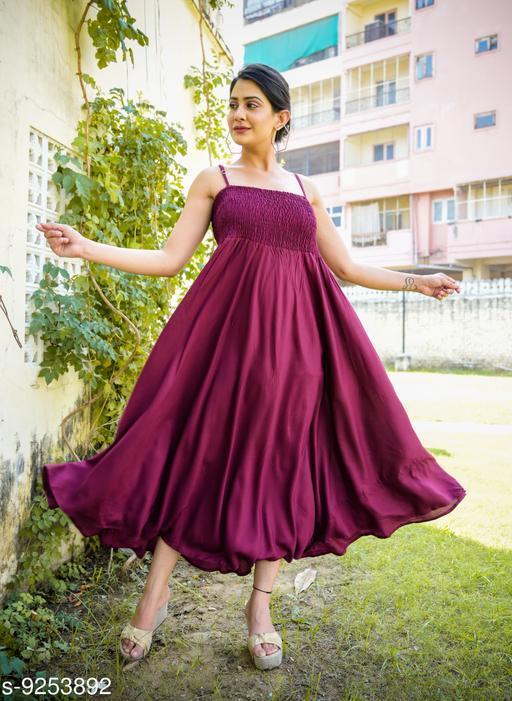 Fancify Wine Rayon A-Line Bobbin Maxi Dress for Women