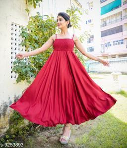 Fancify Maroon Rayon A-Line Bobbin Maxi Dress for Women