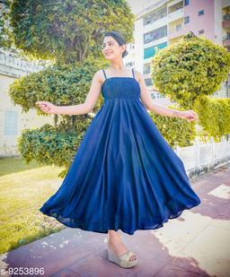 Fancify Navy Rayon A-Line Bobbin Maxi Dress for Women