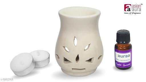 Asian Aura Aroma Diffuser Set Round Shape Burner (Fragnance: English Lavender Aroma Oil 10 ml) & Candles.