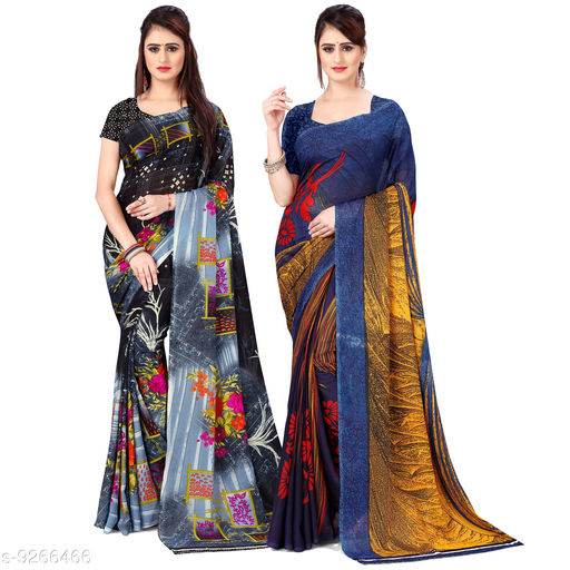Anand Printed Daily Wear Georgette Saree(Pack of 2)