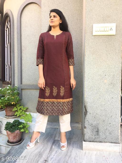 Women's Chanderi Cotton Maroon A-line Floral Printed Kurti