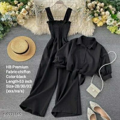 HB PREMIUM Spaghetti Strap strechable Two piece Wide leg jumpsuit with stand up collar shirt with tie up pattern-Free size(28/30/32)- Black