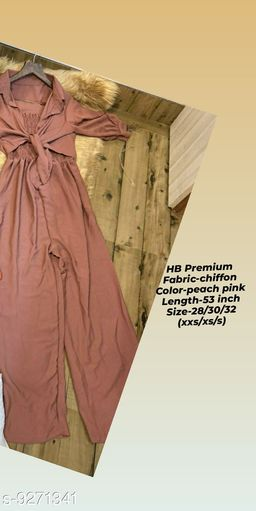 HB PREMIUM Spaghetti Strap strechable Two piece Wide leg jumpsuit with stand up collar shirt with tie up pattern-Free size(28/30/32)- peach