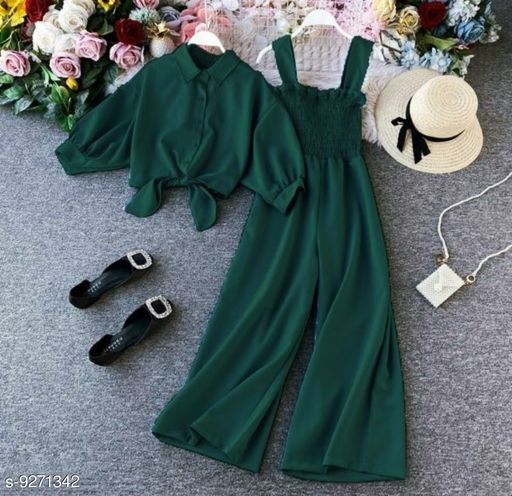 HB PREMIUM Spaghetti Strap strechable Two piece Wide leg jumpsuit with stand up collar shirt with tie up pattern-Free size(28/30/32)- Green