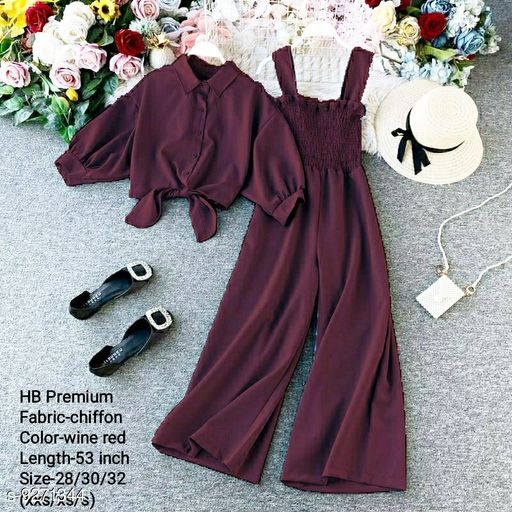HB PREMIUM Spaghetti Strap Strechable Two piece Wide leg jumpsuit with stand up collar shirt with tie up pattern-Free size(28/30/32)- wine red