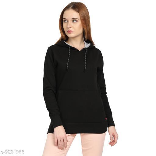 PICOT Women Cotton Fleece Regular Fit Winter Wear Full Sleeve Solid Sweatshirt With Hooded Cap And Kangaroo Pockets