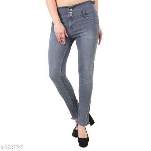 Stylish 03 Button Grey ladies Jeans