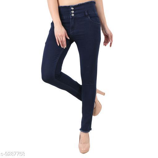 Stylish 03 Button Navy Blue ladies Jeans
