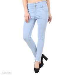 Stylish 03 Button Light Blue ladies Jeans