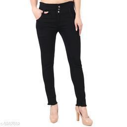 Stylish 03 Button Black ladies Jeans