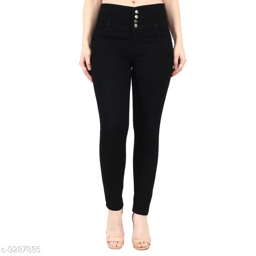 Stylish 04 Button Black ladies Jeans
