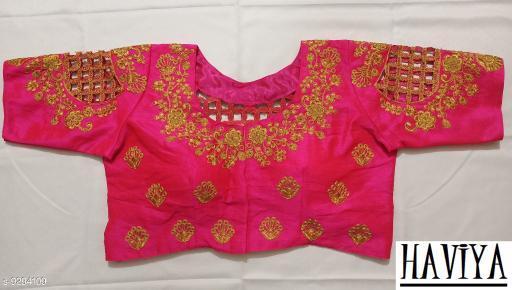 Women's Phantom Silk Pink Embroidered Unstitch Blouse