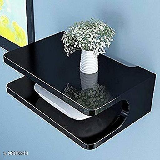 R K Enterprises Wooden Wall Shelf Pot Stand Router Stand Wi-Fi Modem Stand ( Black )